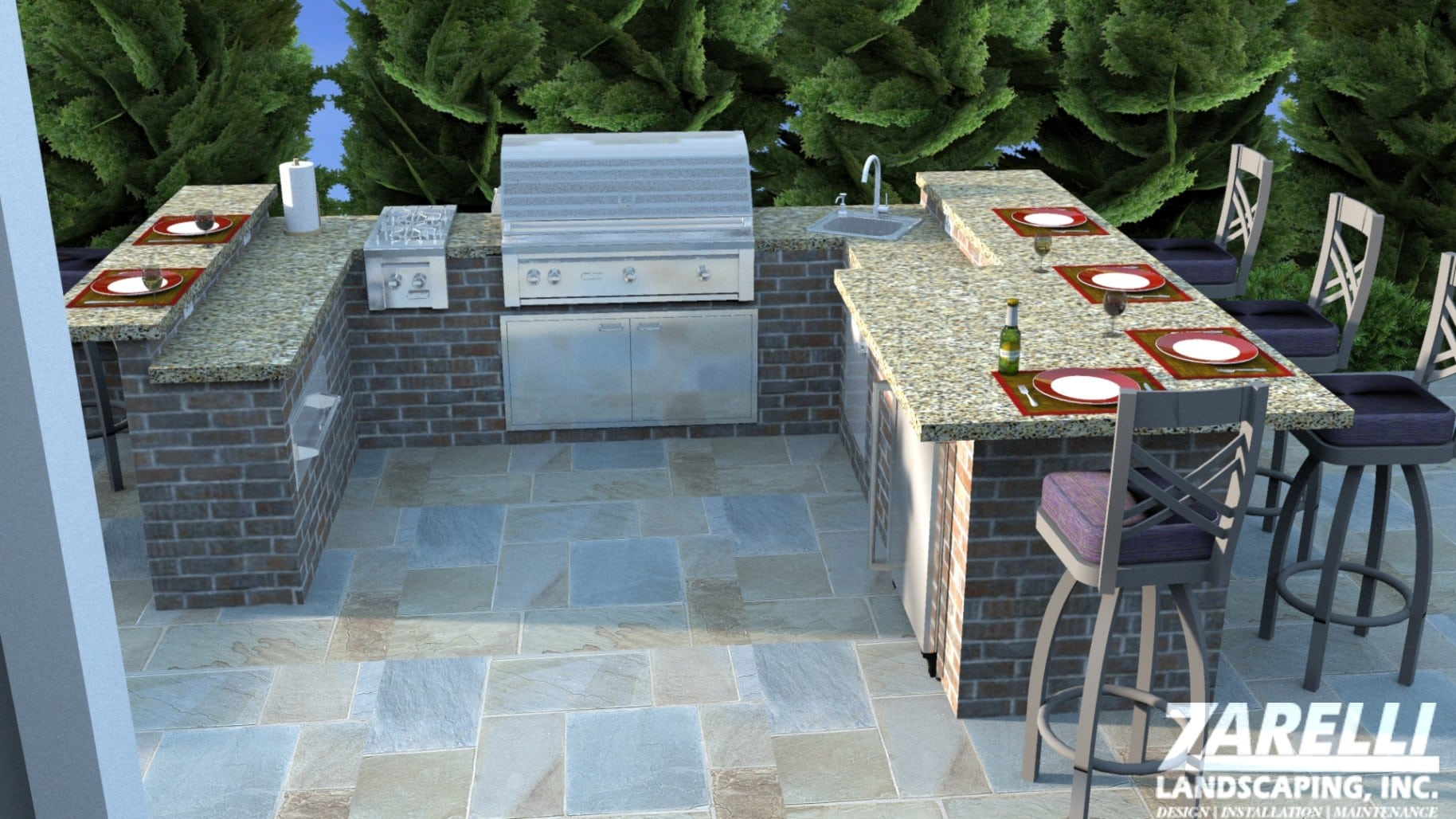 3D render of outdoor living space