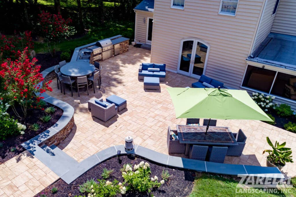 aerial shot of outdoor patio and kitchen