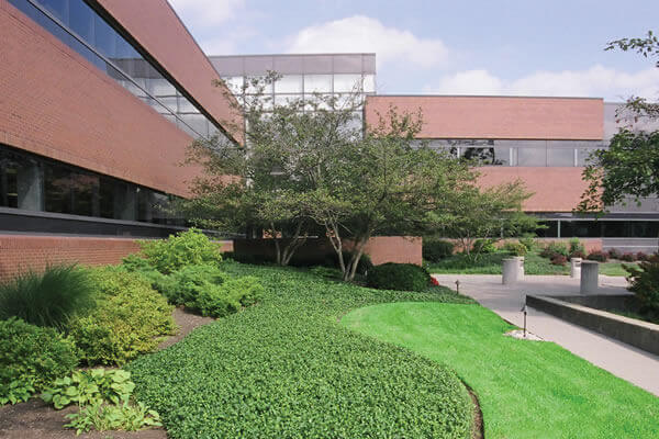 Commercial building with beautiful landscaping